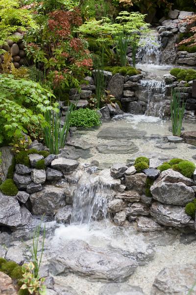 An Alcove (Tokanoma Garden); moss mounds; houttyana; Acer; iris; stream
