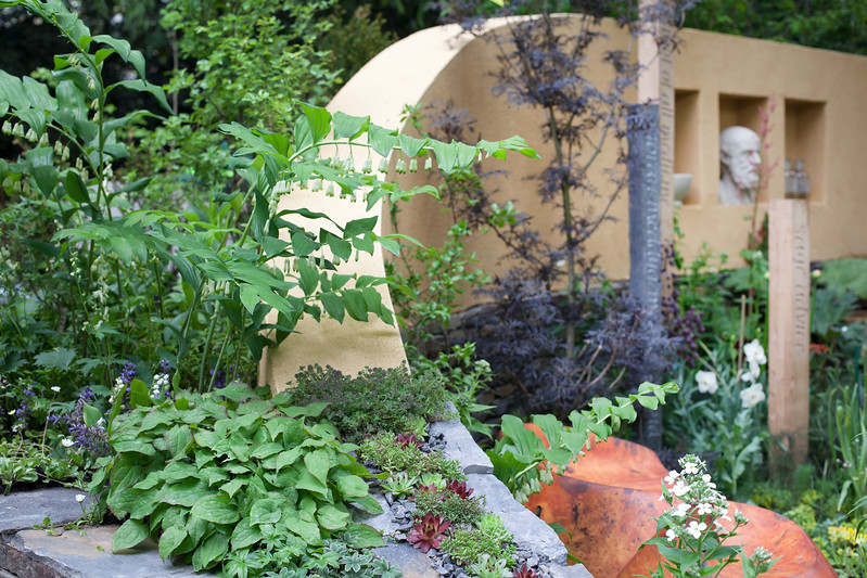Get Well Soon, Artisan Garden, with serpentine wall made of stone and render and embellished with slate, and mixed sempervivums,with polygonatum and sambucus: