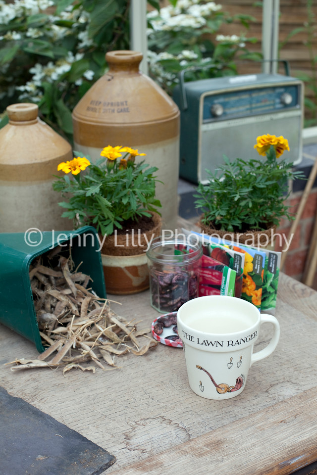 Alitex Ltd bespoke greenhouses, traditional potting bench with plants, jars, old transistor radio, seeds, and mug
