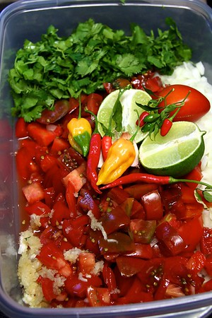 OCTOBER 8, 2012  What to do with yesterday's heirloom tomato harvest??? Fresh Salsa!!  Simple ingredients.   8 juicy heirloom tomatoes, chopped cilantro, diced large Walla Walla sweet onion, 6 cloves of garlic put through a garlic press, juice of one lime , Thai and Fatale chili's from my garden .    The yellow Fatale is hotter than habanero...I used latex gloves and eye protection, deseeded and took off the membranes before finely dicing and only used half of one Fatale pepper for it's incredible flavor.  The rest of the heat comes from my Thai peppers.