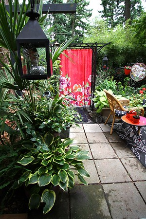 I brought in 2 weather proof fabric shower curtains suspended in my arbors to help divide the space from the rest of the yard This is the arbor I started with. The other is temporary and will be eventually replaced with this Asian style version