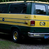"Packer fans are everywhere in Wisconsin.  This old full-size Chevy van has a ""Collectors"" license plate of all things."