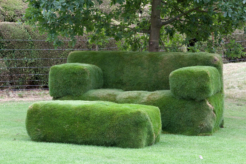 Grass settee at Packwood House, NATIONAL TRUST