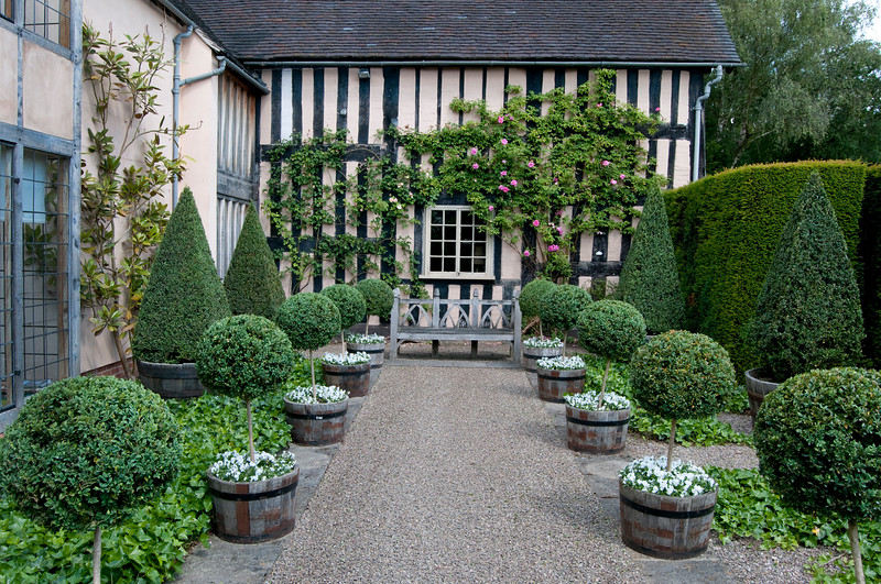the courtyard garden at Wollerton Old Hall Garden, Shropshire, June,