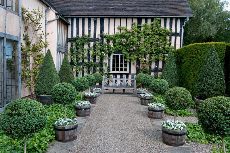 the courtyard garden at Wollerton Old Hall Garden, Shropshire, June,