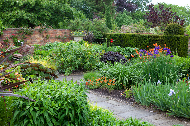 the hot borders in the Llanhydrock Garden at Wollerton Old Hall Garden, May