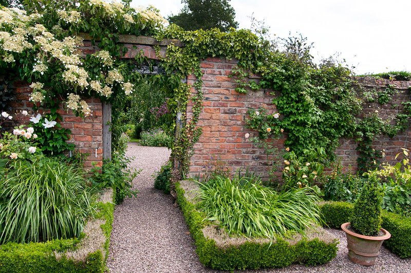 view from The Long Border into The Croft Garden at Wollerton Old Hall Garden, Shropshire, June,