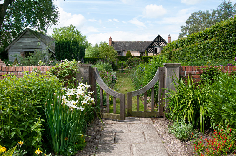 view through The Sundial Garden to Wollerton Old Hall, Shropshire, June,
