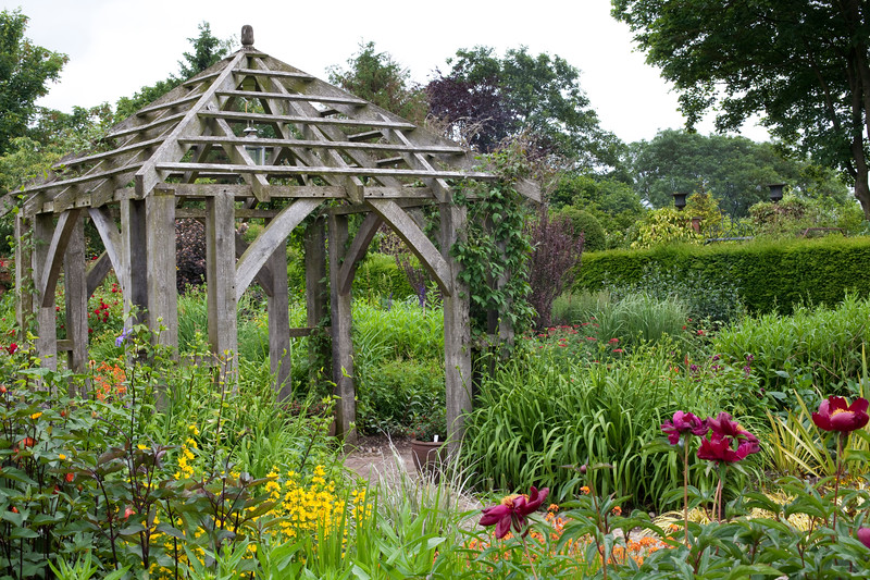 oak framed pergola in the Llandhydrock Garden at Wollerton Old Hall Garden, June