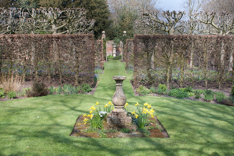 The Sundial Garden at Wollerton Old Hall Garden, April