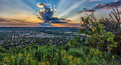 Sunset  over LaCrosse from Grand Dad Bluff with Wildflowers.