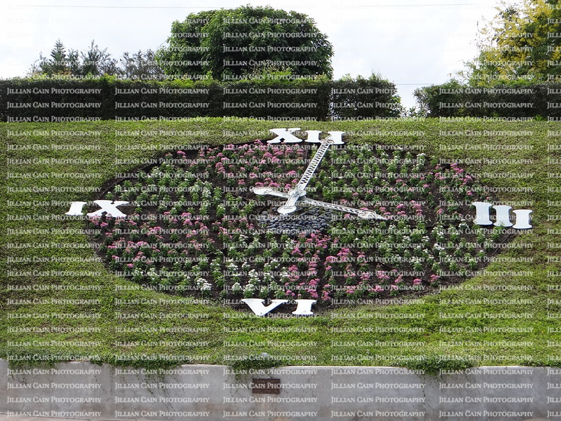 live clock designed with flowers
