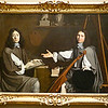 this was a joint self portrait of two artists. <br /> they painted each other and put the instrument there to show that they were in harmony