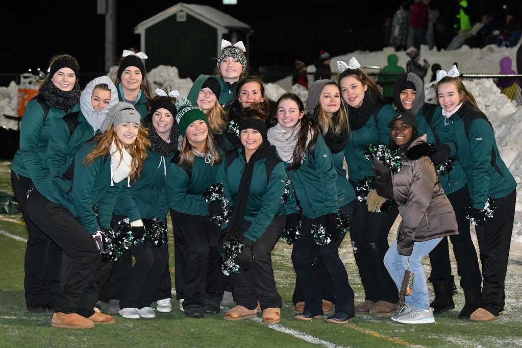 . Oakmont Cheerleaders warm up for a photo op. Sentinel & Enterprise / Jim Fay