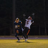 Gardner DB Marcus Campbell goes up to defend against Quabbin's Collin Sweeney in the end zone in OT. Campbell was flagged for pass intereference leading to Quabbin's winning TD. SENTINEL&ENTERPRISE/ Jim Marabello