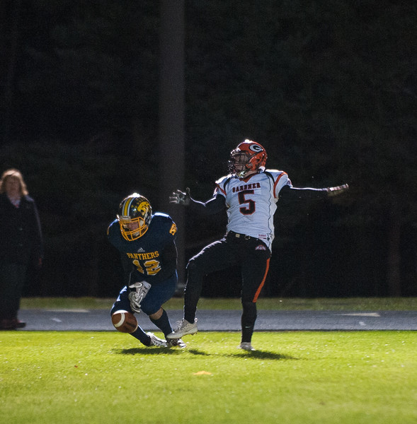 Gardner DB Marcus Campbell defends against Quabbin's Collin Sweeney in the end zone in OT. Campbell was flagged for pass intereference leading to Quabbin's winning TD. SENTINEL&ENTERPRISE/ Jim Marabello
