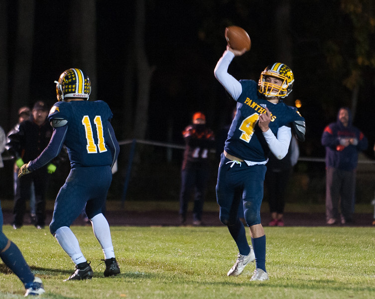 Quabbin QB Ryan Malkowski lets go with a touchdown pass in OT against Gardner that would win the game. SENTINEL&ENTERPRISE/ Jim Marabello