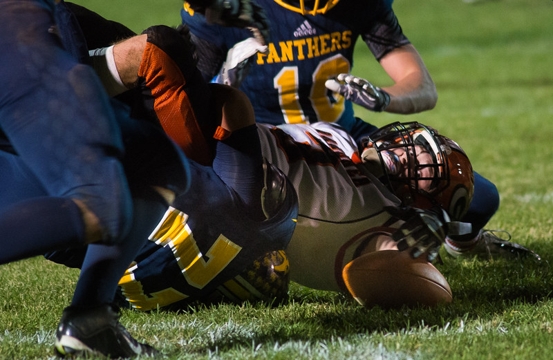 Gardner RB Dylan Zarozinski turns to grab the football and recover his own fumble against Quabbin. SENTINEL&ENTERPRISE/ Jim Marabello