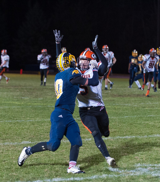 Gardner DB Marcus Campbell defends against Quabbin's Travis Lanpher. SENTINEL&ENTERPRISE/ Jim Marabello