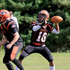 Gardner High School football played Murdock High School on Saturday, September 29, 2018. GHS's Malakide Sieng gets ready to make a pass. SENTINEL & ENTERPRISE/JOHN LOVE
