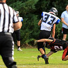 Gardner High School football played Murdock High School on Saturday, September 29, 2018. GHS's Zach Lemoine takes down MHS's Jack Polcari during action in the first half of the game. SENTINEL & ENTERPRISE/JOHN LOVE