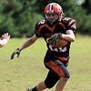 Gardner High School football played Murdock High School on Saturday, September 29, 2018. GHS's Zach Lemoine tries to make it around the corner during action in the game. SENTINEL & ENTERPRISE/JOHN LOVE