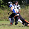 Gardner High School football played Murdock High School on Saturday, September 29, 2018. MHS's Logan Hawkins drags GHS's Malakide Sieng a few yards during action in the game. SENTINEL & ENTERPRISE/JOHN LOVE