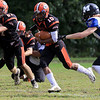 Gardner High School football played Murdock High School on Saturday, September 29, 2018. GHS's Malakide Sieng tries to find a hole in the MHS's defense. SENTINEL & ENTERPRISE/JOHN LOVE