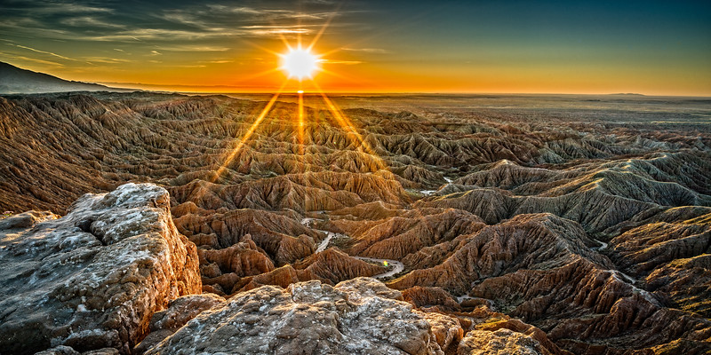 Panoramic view of badlands from Fonts Point in Anza Borrego Desert State Park