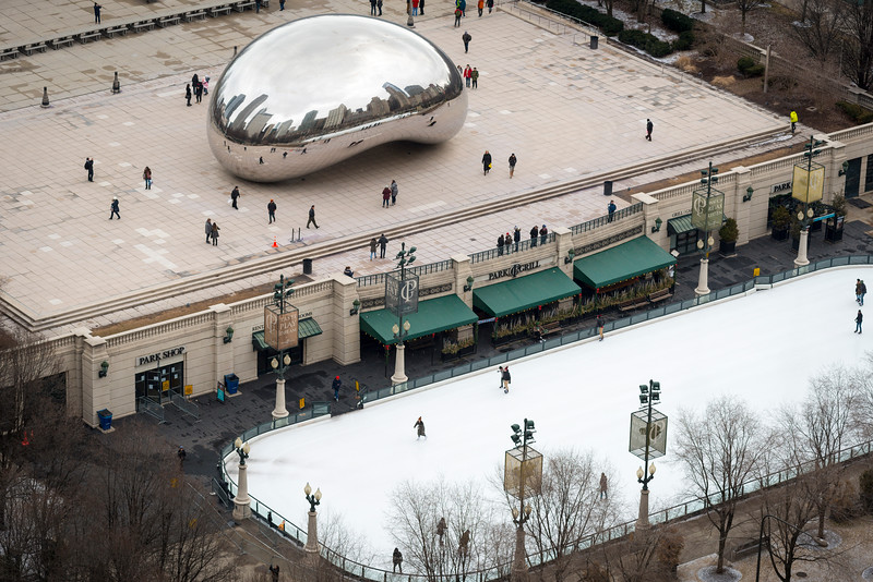 Aerial Cloud Gate public art sculpture by Anish Kapoor the bean in Millennium Park