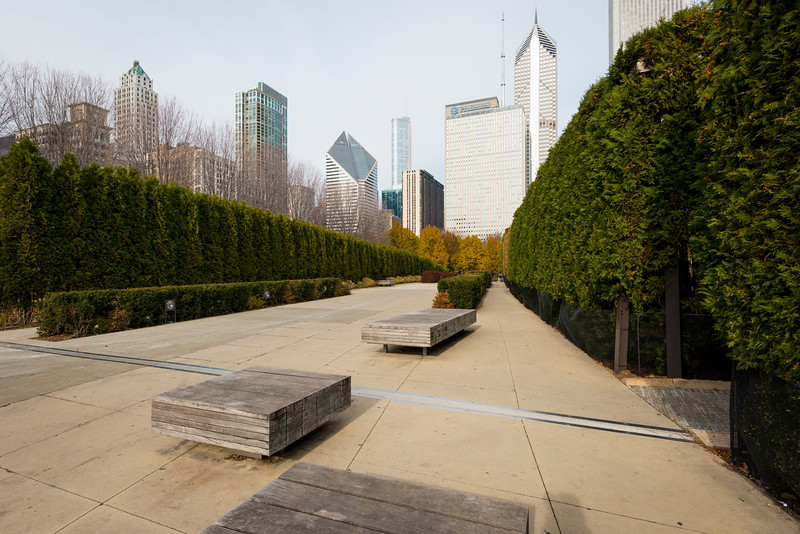 Wood benches seating in Millennium Park winter