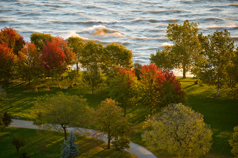 Autumn leaves on Lake Michigan at the North end of Lincoln Park.
