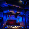 Pritzker Pavilion in Millennium Park illuminated with special effects lighting for a concert by the Grant Park Orchestra Grant Park Music Festival