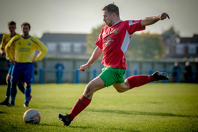 Paul Beesley scores from the penalty spot to complete Railway's recovery and make it 2-2 in the first half.