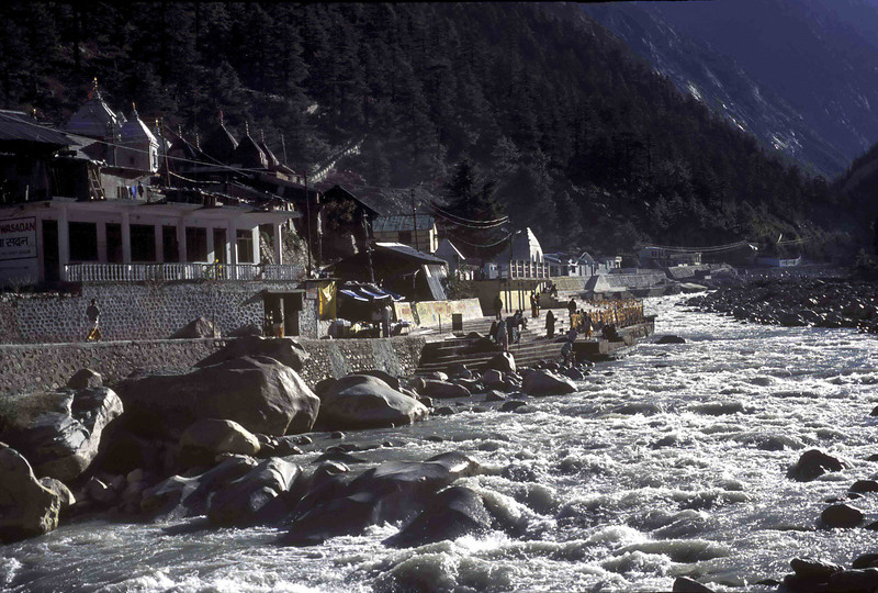 The Ganga and the temple at Gangotri
