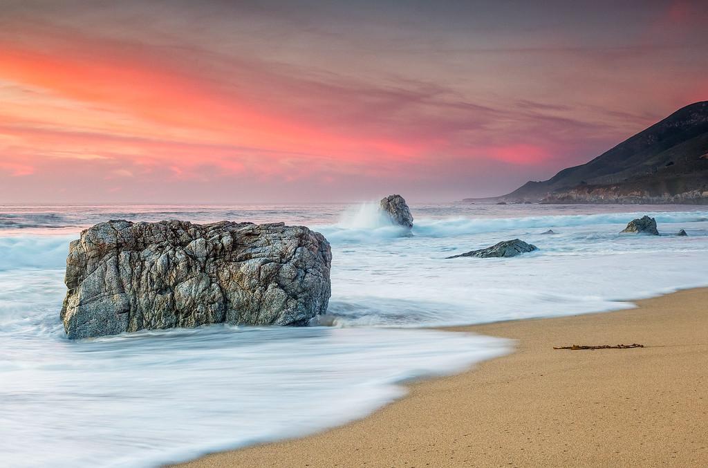 Rushing waves  at Garrapata Beach