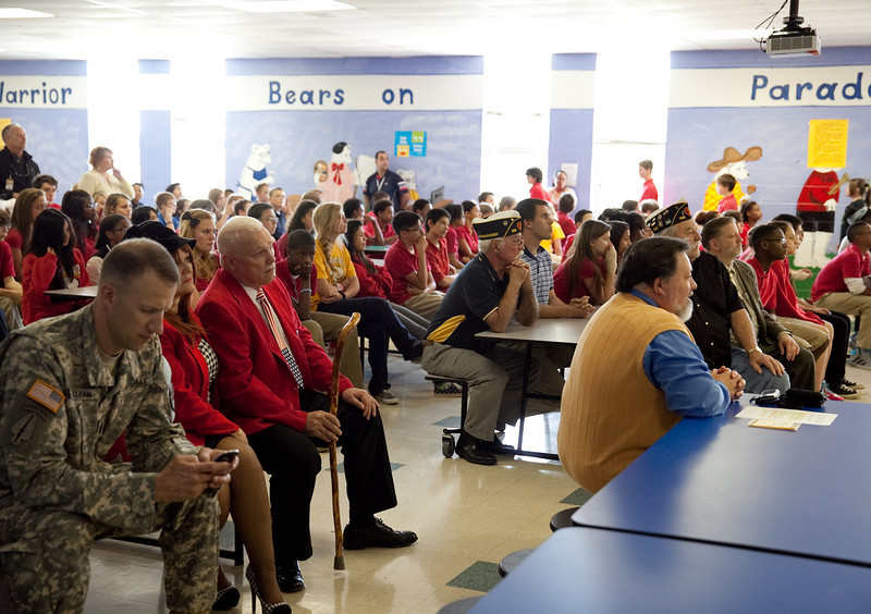 (FORT BENNING, Ga) Col. Jeffrey Fletcher, Fort Benning Garrison Commander, speaks to Faith Middle School Students during the re dedication of the Freedom Shrine, Thursday, May 8, 2013. (Photo by Ashley Cross/MCoE PAO Photographer)