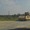 Armored vehicle crosses Wood Road during training mission Sept. 15, 2011. Photos by Cindy Andruss.
