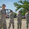 04 MAY 2011 (FORT BENNING, GEORGIA) - NCO/Soldier/DrillSgt of the Year Competition, Competitors demonstrate drill and ceremony skills as MCoE CSM Chris Hardy, Sgt Hank and Armor School CSM Ricky Young observe.  Eubanks Field, MCoE, Day 3.  Photo by John D. Helms - john.d.helms@us.army.mil