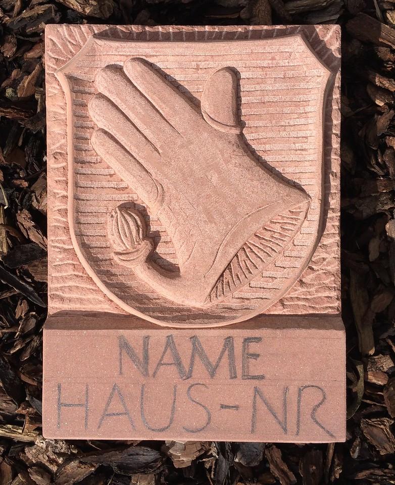 Wappen Handschuhsheim mit Hausnummer und Namen