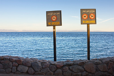 Somewhere on the Red Sea - can't remember where exactly - but I rather liked the prohibitions on the beach.