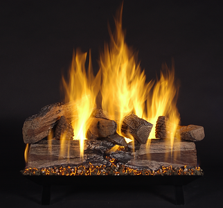 "24"" Evening CrossFire Logs (EXF24) on Vented Custom Pan Burner (CS24-B-N). Shown on Natural Gas."