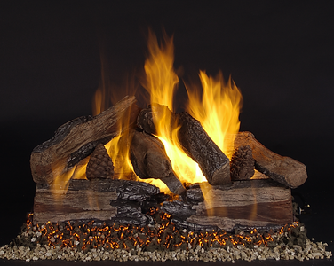 "24"" Evening CrossFire Logs (EXF24) on Custom Embers Vented Pan Burner (CXF24-B-N). Shown on Natural Gas and with extra MGX1 Vermiculite around the base."