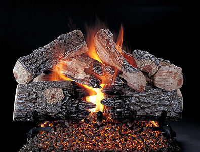 Evening Prestige Vented Gas Log set. Shown on FX Burner and Grate.