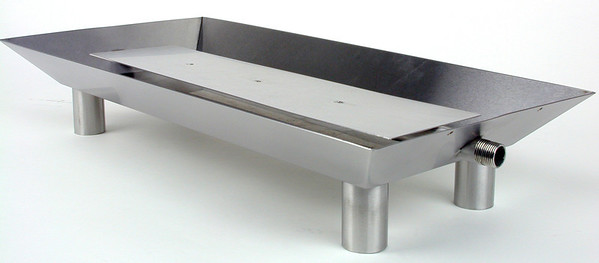 Pan Burner for vented fireplaces. Stainless steel construction with tubular legs.  Angle view.