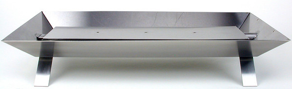 Pan Burner for vented fireplaces. Stainless steel construction with strap legs.  Front view.