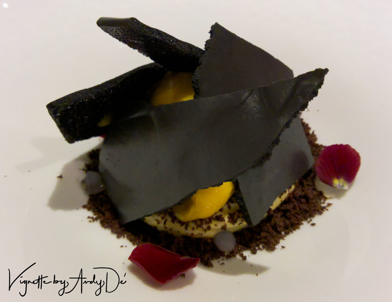 The CRUNCHY LICORICE LAYERED CHOCOLATE CRUMBLE with MANGO,  delivered an explosion of flavors, suitably complimenting the brioche!