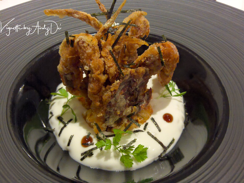 The KIMCHI CRUSTED CRAB which indulged our palates with the flavor of the Kimchi with a crispy softshell crab, with the pungency tempered by the yogurt and tapioca- that is Michelin starred culinary excellence for you!