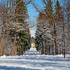 Snowy Gatchina park with the Eagle Pavilion