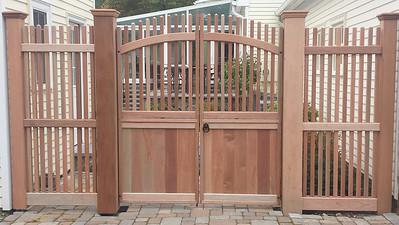 185 - Woodbury CT - Custom Mahogany Gate & Fence
